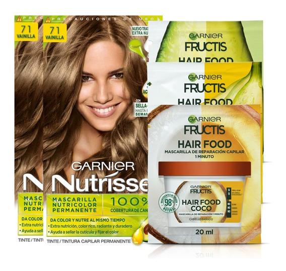 Pack Coloracion 7.1 Vainilla Rubio Nutrisse + 3x Hair Food