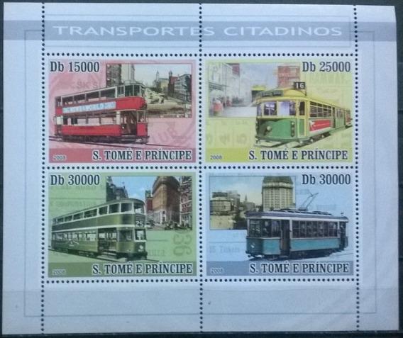 C@- Tranvías - Santo Tomé Y Principe 2008 Hermoso Block Mint