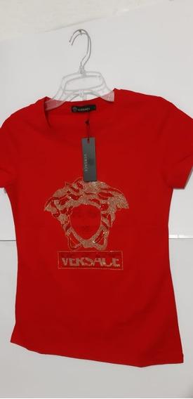 Playera Versace Rojo Brillos Rojo Dorado