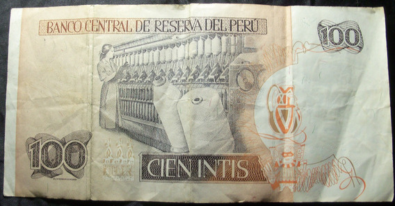 Billete Peru 100 Intis 1987.