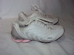 Tenis Feminino Fila De Couro Branco E Rosa Tamanho 34
