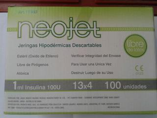 Jeringas Descartables Insulina 100u Neojet 13x4 100unidades