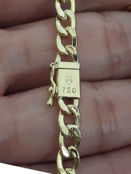 Pulseira Masculina Em Ouro 18k Groumet 2.5gr 19 Cm + Brinde