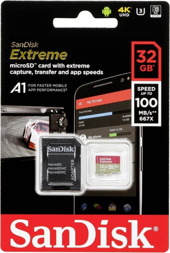 Imagen 1 de 1 de Memoria Micro Sd 32gb Extreme Para Gopro 4k Uhd 90mb/s
