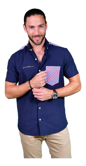 Camisa Hombre Casual Manga Corta Portoblanco Azul Mc-944
