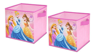 Set 2 Cajas De Tela Organizadores Decoracion Princesa Disney