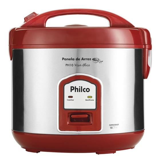 Panela Elétrica De Arroz Philco Visor Glass Ph10 127v, Inox/vermelha