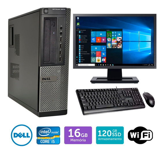 Desktop Usado Dell Optiplex 9010int I5 16gb Ssd120 Mon17w