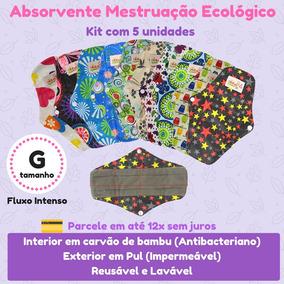 Kit 5 Absorventes De Menstruação Ecológico Bambu Noturno