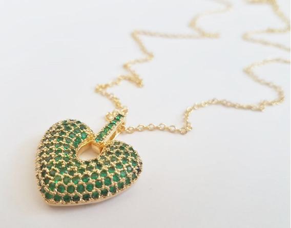 Colar Semi Longo Com Ping Coração Com Micro Zircônias Verde