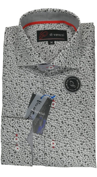 Camisa Estampada Slim Divarezzi Combinada Algodon Poliester