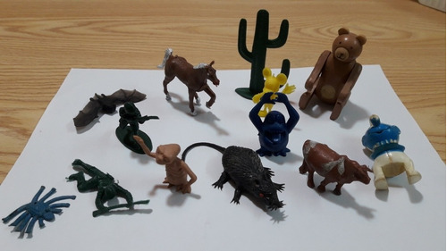 Lote X 13 Juguetes Miniaturas Antiguos Varios Animales Etc