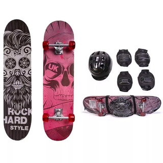 Skate Infantil C/ Acessórios Rock Hard Unik Toys (kit Skate)