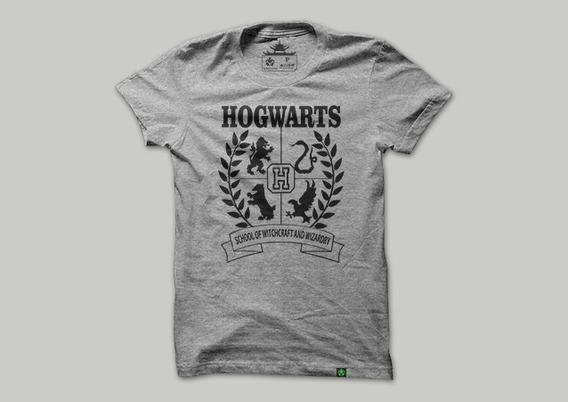 Camiseta Anime Geek Filmes Harry Potter Brasões Hogwarts