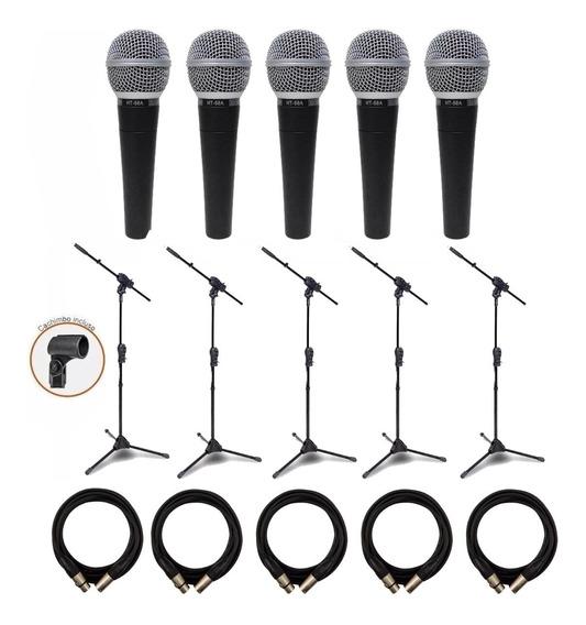 Kit 5 Microfone Csr Ht-58 +5 Pedestal Ibox + 5 Cabos Xlr/xlr