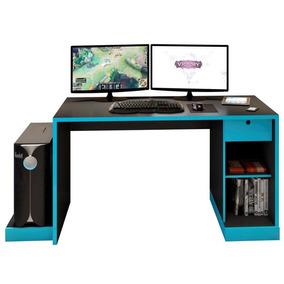 Mesa Para Computador Notebook Desk Game Drx 3000 Preto/azul