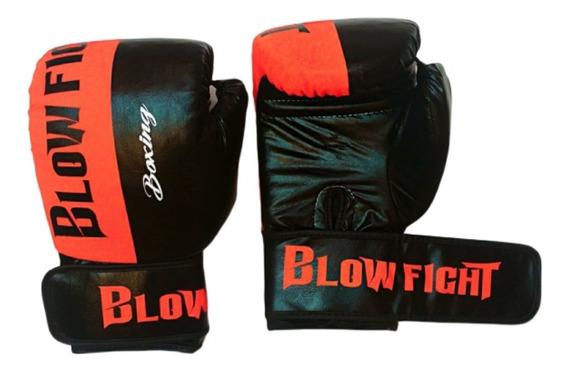 Luva De Boxe E Muay Thai Preto Com Laranja Blow Fight 16 Oz