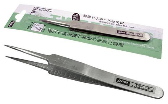 20un Pinça Anti-estatica Gooi Ts-14 - Reta Extra Fina 115mm