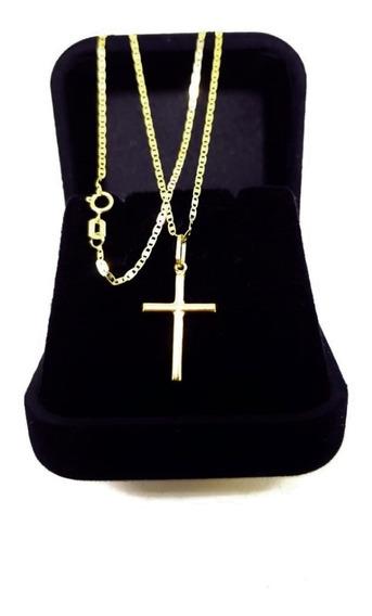 Cordão De Ouro 18 K Piastrine C Pingente Crucifixo 45cm