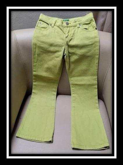 Pantalon Jeans De Niña Benetton Color Verde Talla 6