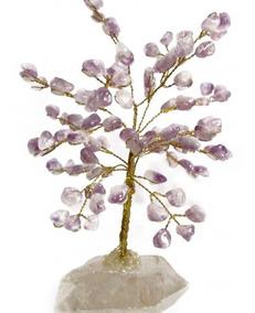 Árvore De Cristais M 15cm Base Em Cristal Bruto