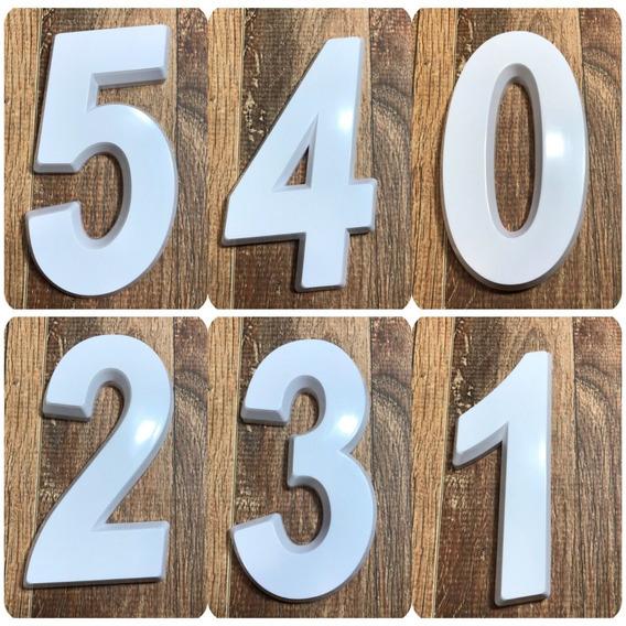 Kit 3 Números Residenciais Branco 14cm De Altura