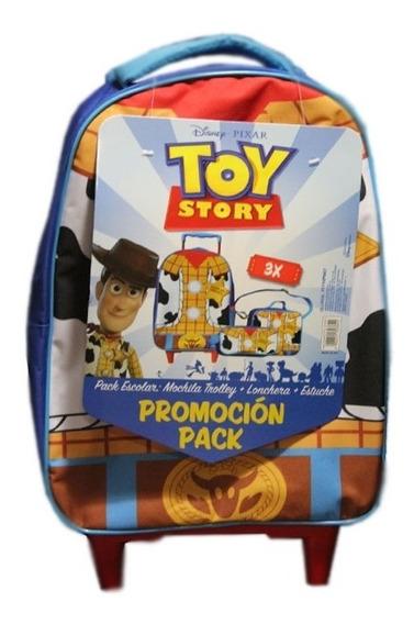 Pack Escolar Mochila Carrito + Lunchera+cartuchera Toy Story