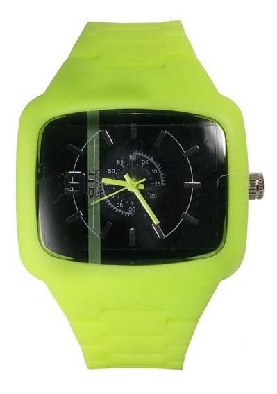 Relógio Pulso Air Watch Pulseira De Silicone Verde M10
