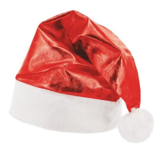 Gorro De Santa Claus Navideño Rojo Metálico Posadas Fiestas