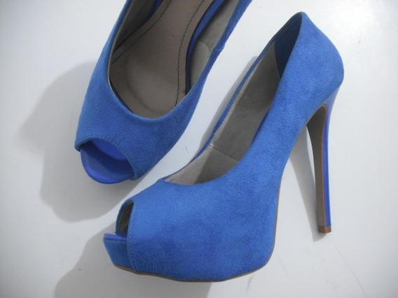 Peep Toe Dellabella Meia Pata Azul Camurça 38 Usado Bom Esta