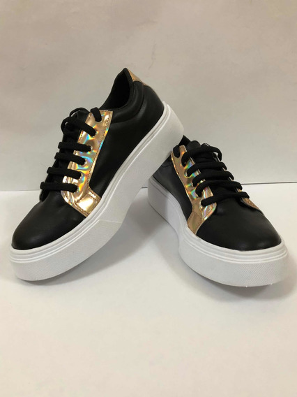 Zapato Zapatilla Mujer Negra Sneaker Urbana Plataforma Moda