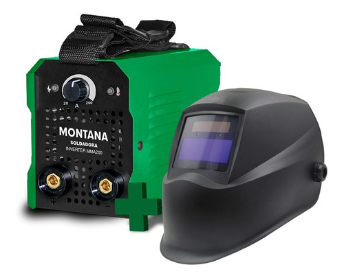 Imagen 1 de 3 de Soldadora Inverter 200 Amp + Mascara Automatica Montana
