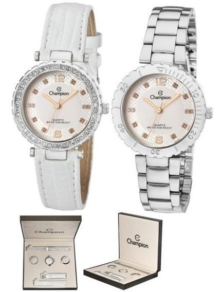 Relógio Champion Cn29203q Dourado E Couro Troca Pulseiras