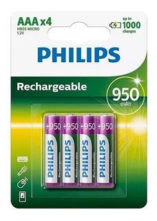 Pila Recargable Aaa Philips X 4 950 Mah 1000 Cargas Ramos Mejia