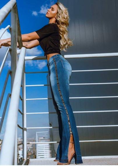 Calça Flare Ziper Lateral Consciencia Jeans Tamanho 36