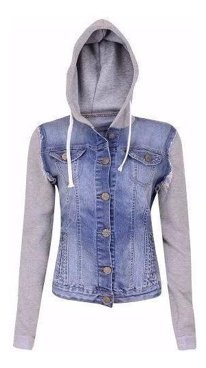 Jaqueta Jeans Moleton Com Manga E Capuz Blusa Feminina Top