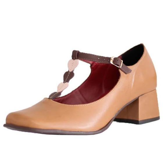 Sapato Salto Grosso Confortável Estilo Retrô Em Couro 1319