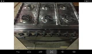 Cocina Con Grill 6 Hornallas Tapa De Vidrio Enc Electrico