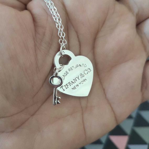 Colar Corrente Return Heart New Coração Chave B Prata Médio