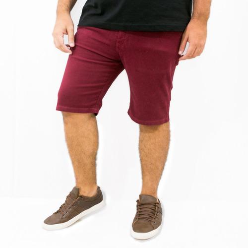 Imagem 1 de 4 de Bermuda Jeans Masculina Colorida Com Lycra Plus Size