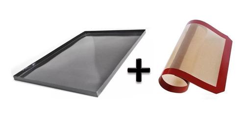 Imagen 1 de 1 de Asadera Placa Enlozada 60 X 40 X 2 Cm Reforzada + Plancha Tela Silicona Simil Silpat 60 X 40 Para Horno