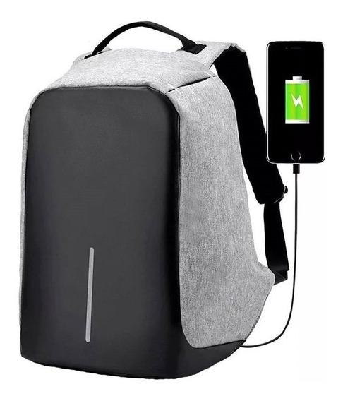 Mochila Antirrobo Smart Carga Usb Reforzada Porta Notebook