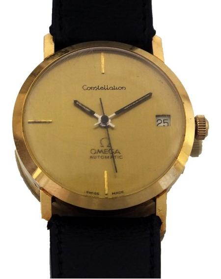 Relógio De Pulso Omega Constellation Date Automatic Em Ouro Calibre 1012 Ano 1974 18k J22064