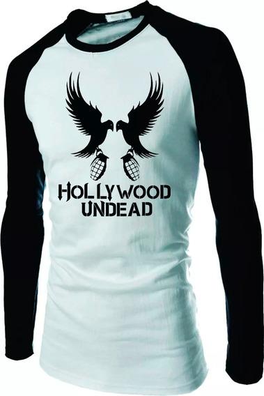 Camiseta Hollywood Undead Manga Longa Raglan