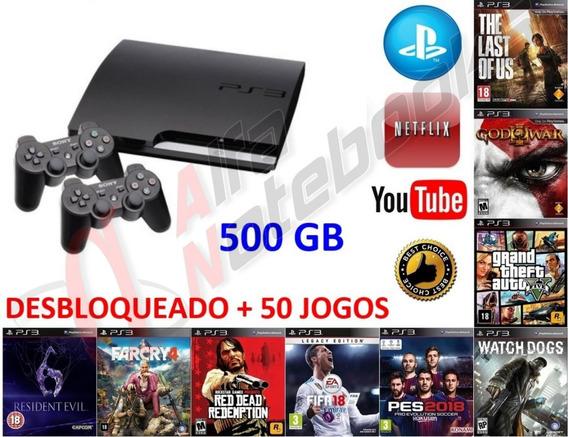 Ps3 Slim Desbloqueado 500gb 50 Games 2 Controles + Nf