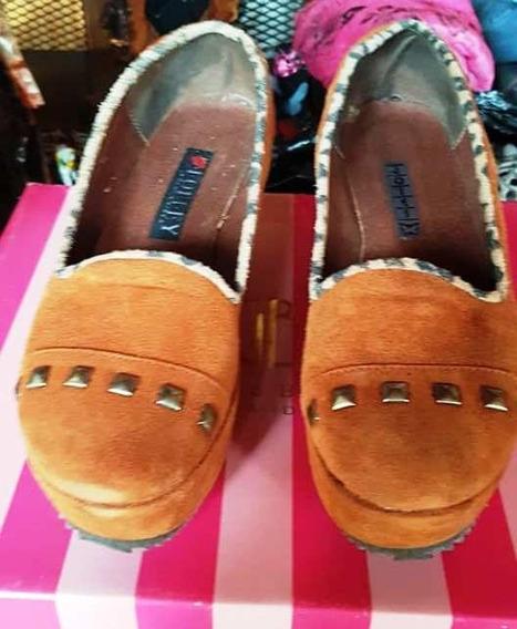 Zapatos Gamuza Con Tachas Marrón 37