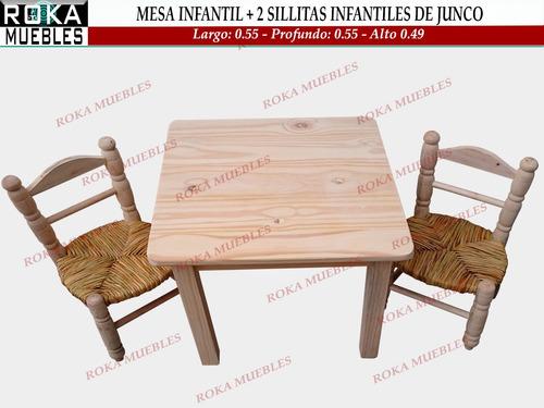 Mesa Infantil + 2 Sillas Infantiles De Junco Roka