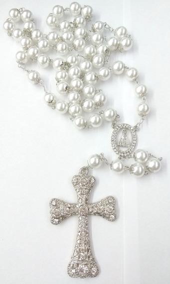 Terço De Noiva Prata Perolas Brancas Nossa Senhora Aparecida