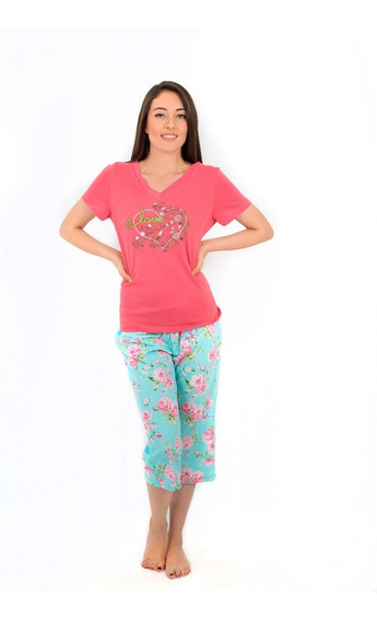 Pijama Juvenil Algodón Capri Love Corazón Floral Manga Corta