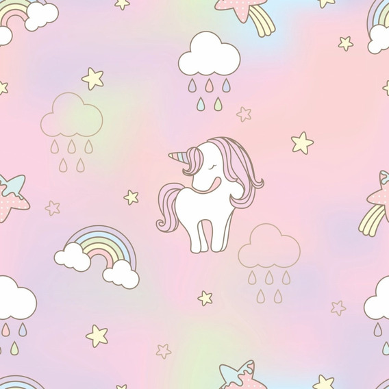 Papel De Parede Infantil Nuvens Unicórnios Rosa Menina 3mts